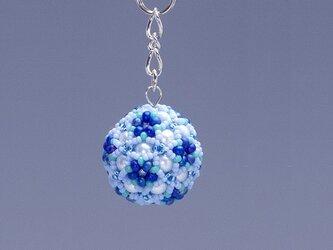 星型の花模様のボールの携帯ストラップ・ブルー&ターコイズの画像