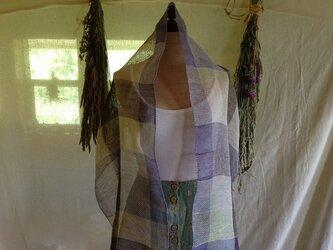 手織りリネンストール ボーダーカラーの画像