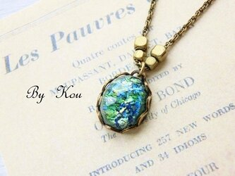 ◆Green opal◆シンプルヴィンテージ・ネックレス。の画像