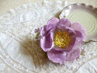 本絹野薔薇とライラックのコサージュ*髪飾りの画像