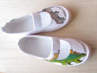 100%手描き☆ゴシゴシ洗える上履き「恐竜」(ティラノ前タイプ)☆ご希望のサイズで☆名入れも☆受注制作の画像