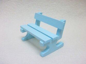 ミニチュアサイズ!木製のイス-ベンチSブルー-の画像