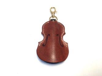 (受注製作) バイオリン/レザーキーケース/ BROWNの画像