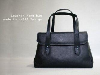 濃紺 牛革 型押し ペイズリー柄 ハンドバッグ 手提げの画像