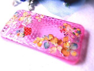 本物の秋色紫陽花でIPHONEケース【バンビとうさぎ】の画像