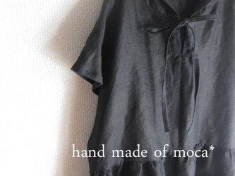 【受注製作/4.20再販売】W50半袖前ヒモリボンフード付きシンプルリネンワンピース★黒の画像