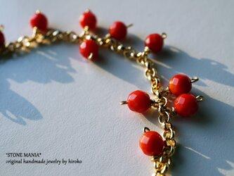 ♡可愛い赤い珊瑚☆X'masブレスレット♡の画像