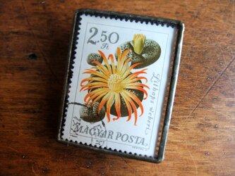 ヴィンテージ切手のブローチ - ハンガリー サボテン3の画像