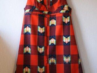 ウール 赤オレンジ チューリップ ジャンパースカート Mサイズの画像