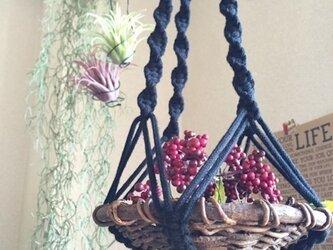 男前!!マクラメ編みのプラントハンガー ブラックロングの画像