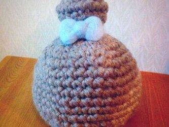 アルパカ混 暖かいおだんご帽子 の画像