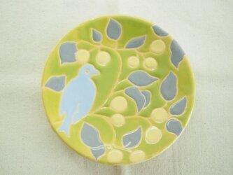 中皿(鳥)黄緑色 直径18cmの画像