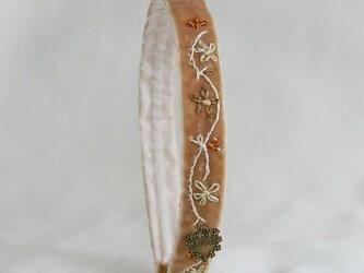 フランス製のベルベットリボン グレイッシュベージュの画像