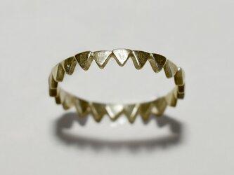 《単品/三角》真鍮の小粒幾何学モチーフリング/再販〈図形・記号・槌目・トライアングル〉Brass、ゴールドの画像