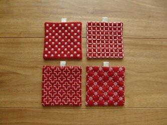 〔受注制作〕刺し子のminiコースター(赤)の画像