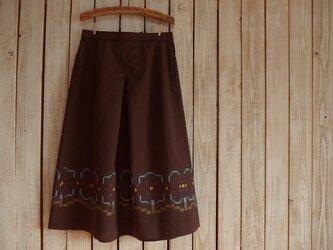 お花のロングスカート/ブラウンの画像