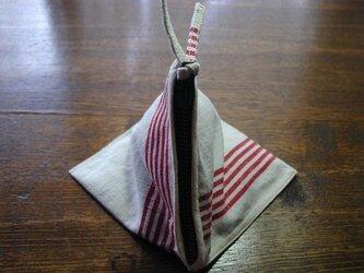 テトラ型ミニポーチ(ビンテージ麻布)の画像