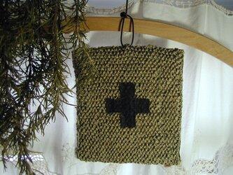 鍋つかみ 鍋敷き (麻糸手編み 醤油袋使用)の画像