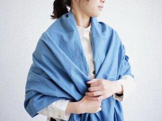 エシカルヘンプ平織ストール  正藍染め藍色の画像