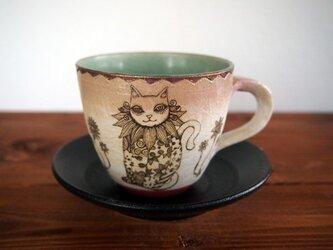 アルケミストのカップ&ソーサー(パッチワークの猫と蘭)の画像