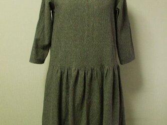 麻混 丸衿7分丈袖ワンピ M 薄い茶色 リバティタナローン 受注生産の画像