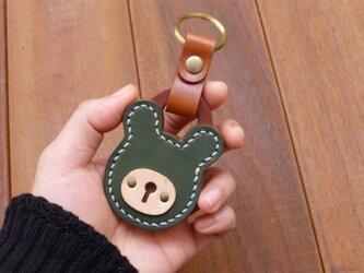 本革 クマの南京錠キーホルダー(緑/赤) パドロックの画像