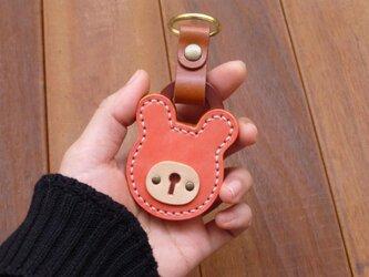 本革 クマの南京錠キーホルダー(ピンク/キャメル) パドロックの画像