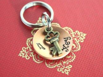 迷子札MD345 銅製 鍵のチャーム付 の画像