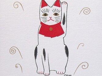 白い招き猫:シルクスクリーンプリントの画像