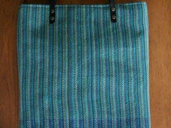 手織りバック (cotton/青)の画像