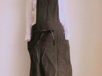 ワークエプロン ベルギーリネン25番手 ダークブラウンの画像
