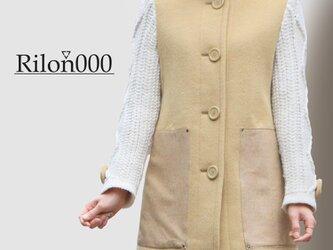 ≪リメイク1点物≫ニット袖切替ウールコート:M Sizeの画像
