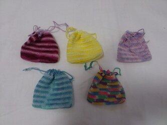 レース編みの小さな巾着の画像
