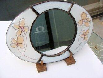 花ガラスの楕円鏡の画像