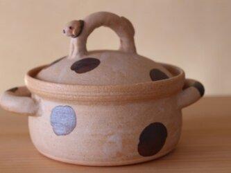 犬の取っ手ドット土鍋。:*soldの画像