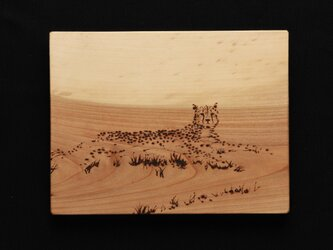 カモフラージュ1(焼き板絵)の画像