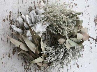 銀色の葉のリース の画像