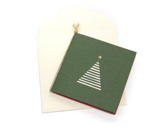 【クリスマスカード】ツリー・緑の画像