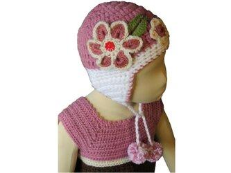 子供用 耳あて&お花の帽子(42cm)の画像