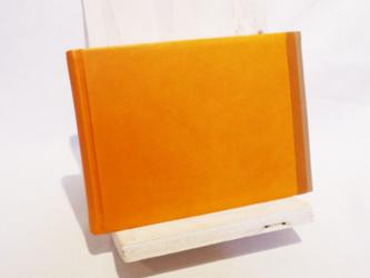 革装3色モザイクノート《メモサイズ/オレンジ》の画像