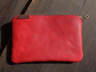 馬革ポーチ / RED (赤色)size・ H130mm ×W195mmの画像