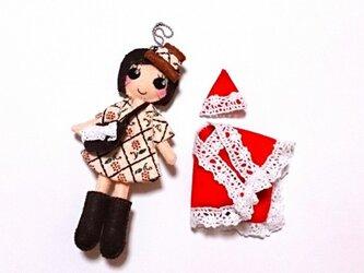 着せ替えフェルト人形根付NO.32(クリスマスセット)の画像