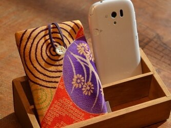 スマートフォンケース 水輪小花かのこ遊び(裏面革パープル)の画像