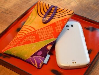 スマートフォンケース 水輪かのこ遊び(裏面革パープル)の画像