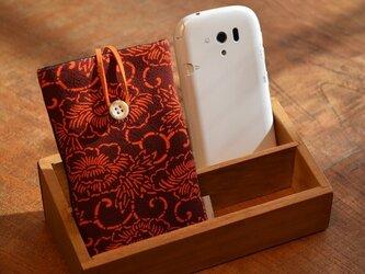 スマートフォンケース 牡丹唐草(裏面革ブラック)の画像