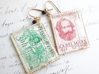 Vintage切手のピアス/イヤリング(チェコスロバキアの画像