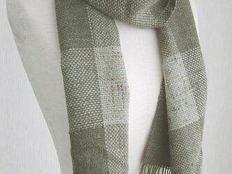 ☆セール第二弾☆ 手織り ブロック模様のウールマフラー(緑)の画像