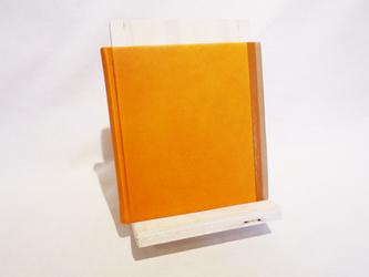 革装3色モザイクノート《スクエア/オレンジ》の画像
