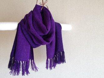 手染めシルクマフラー 紫×ブラックの画像