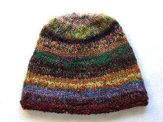 SALE 手紡ぎ糸のニット帽 H-033の画像